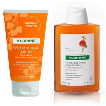 Klorane Sampon antimatreata cu Extract de Capucin 200 ml+ Gel de dus exfoliant CADOU