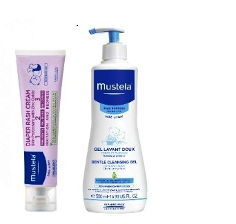 Mustela Pachet Gel curatare par si corp,750ml + Vitamin Barruer Cream 50ml